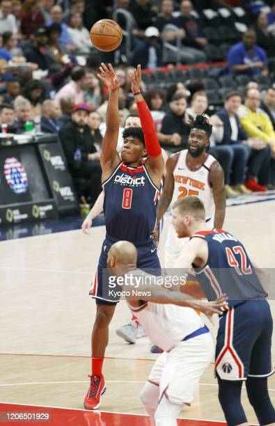 Rui Hachimura of the Washington Wizards shoots a free throw during the second quarter of a game against the New York Knicks on March 10 in Washington