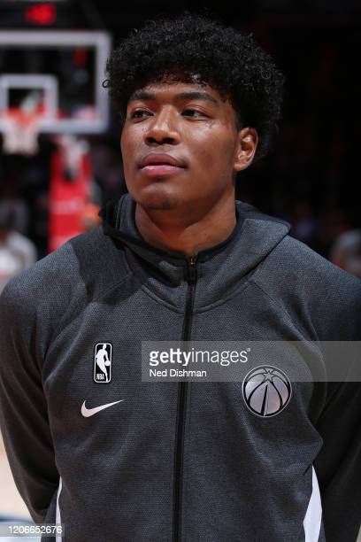 Rui Hachimura of the Washington Wizards stands for the national anthem before the game on March 10 2020 at Capital One Arena in Washington DC NOTE TO...