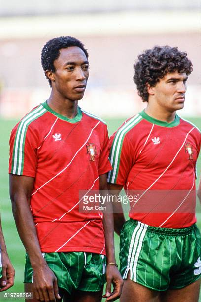 Rui Jordao and Joao Pinto of Portugal during the Football European Championship between Portugal and Spain Marseille France on 17 June 1984