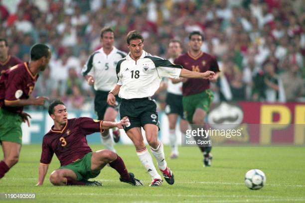 Rui Jorge of Portugal and Sebastian Deisler of Germany during the European Championship match between Portugal and Germany at De Kuip Rotterdam...