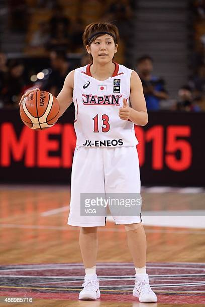 Rui Machida of Japan reacts in finals match between Japan and China during the 2015 FIBA Asia Championship for Women at Wuhan Sports Center Gymnasium...