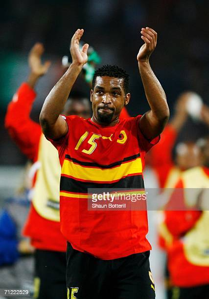 Rui Marques of Angola applauds his team's fans at the end of the FIFA World Cup Germany 2006 Group D match between Mexico and Angola played at the...
