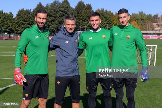 Rui Patricio, Daniel Fuzato, Pietro Boer and Nuno Santos during a training session at Centro Sportivo Fulvio Bernardini on October 15, 2021 in Rome,...