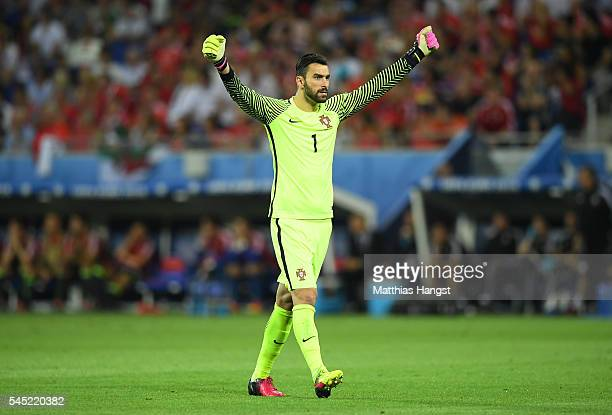 Rui Patricio of Portugal celebrates his team's first goal during the UEFA EURO 2016 semi final match between Portugal and Wales at Stade des Lumieres...