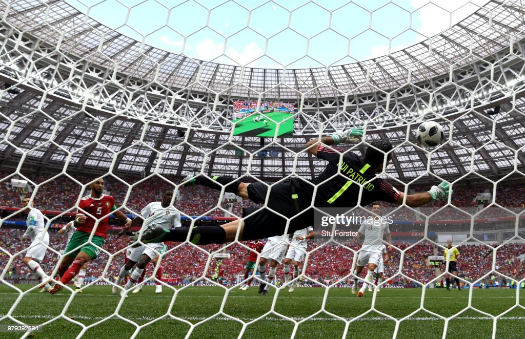 Rui Patricio of Portugal makes a crucial save during the 2018 FIFA World Cup Russia group B match between Portugal and Morocco at Luzhniki Stadium on June 20, 2018 in Moscow, Russia.