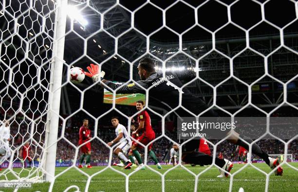 Rui Patricio of Portugal makes a save during the FIFA Confederations Cup Russia 2017 SemiFinal between Portugal and Chile at Kazan Arena on June 28...