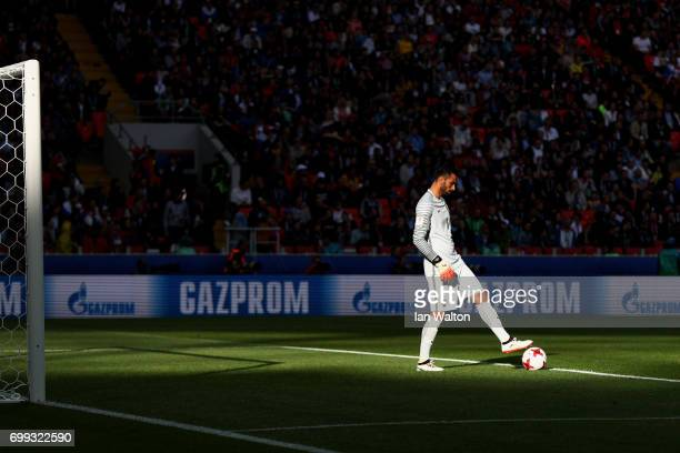 Rui Patricio of Portugal prepares to take a goal kick during the FIFA Confederations Cup Russia 2017 Group A match between Russia and Portugal at...