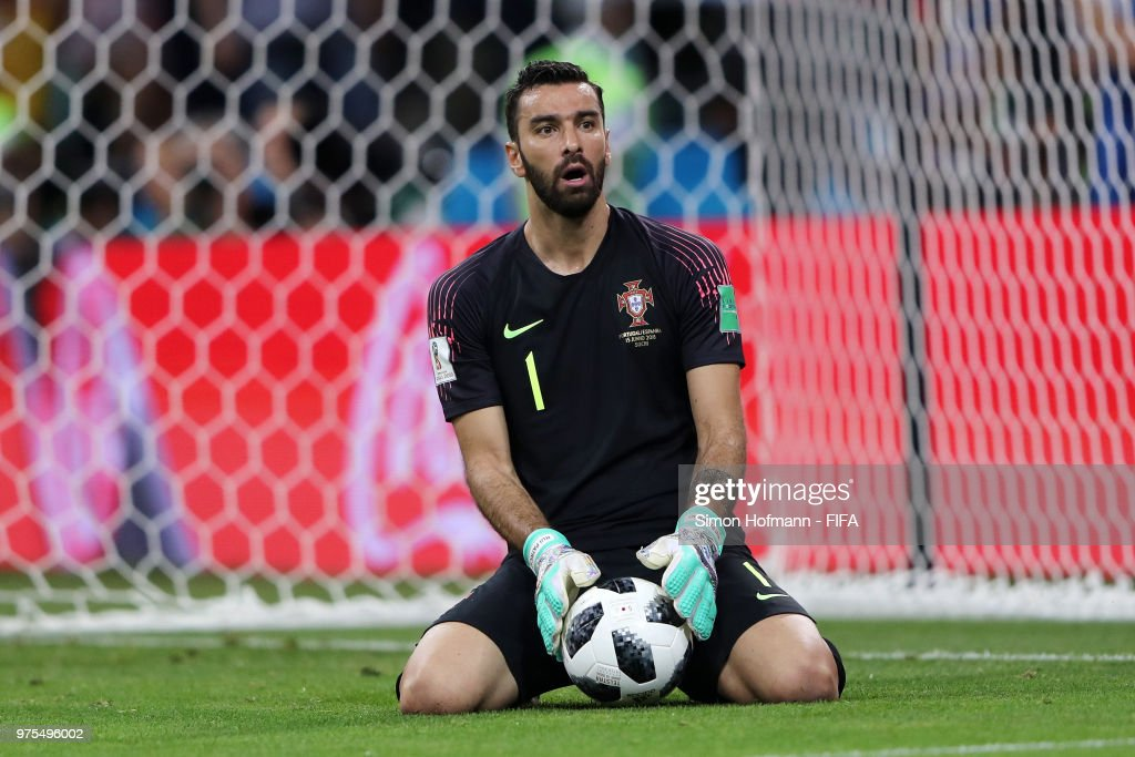 Rui Patricio of Portugal reacts during the 2018 FIFA World Cup Russia group B match between Portugal and Spain at Fisht Stadium on June 15, 2018 in Sochi, Russia.