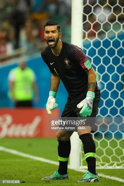 Rui Patricio of Portugal shouts during the 2018 FIFA World Cup Russia group B match between Portugal and Spain at Fisht Stadium on June 15 2018 in...