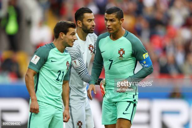 Rui Patricio of Portugal speaks to Cristiano Ronaldo of Portugal during the FIFA Confederations Cup Russia 2017 Group A match between Russia and...