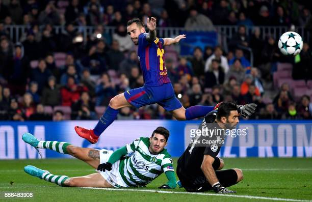 Rui Patricio of Sporting Lisbon saves from Paco Alcacer of Barcelona during the UEFA Champions League group D match between FC Barcelona and Sporting...