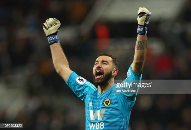Rui Patricio of Wolverhampton Wanderers celebrates after his team mate Matt Doherty scored their team's second goal during the Premier League match...