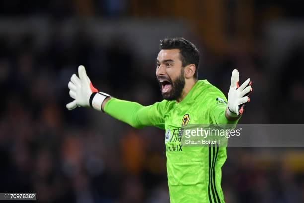 Rui Patricio of Wolverhampton Wanderers celebrates after his team mate Raul Jimenez scored their team first goal during the UEFA Europa League...