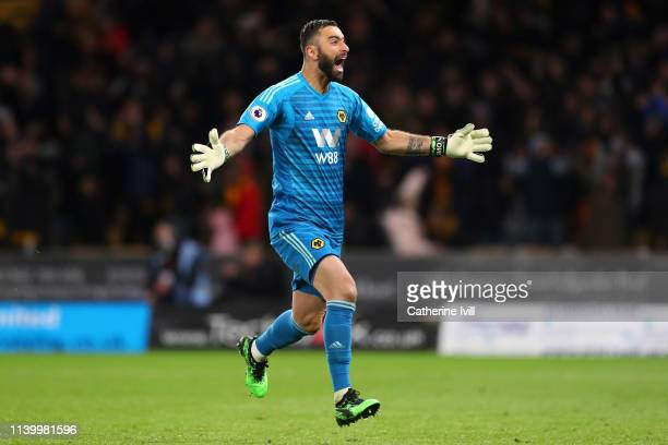 Rui Patricio of Wolverhampton Wanderers celebrates after his team's second goal during the Premier League match between Wolverhampton Wanderers and...