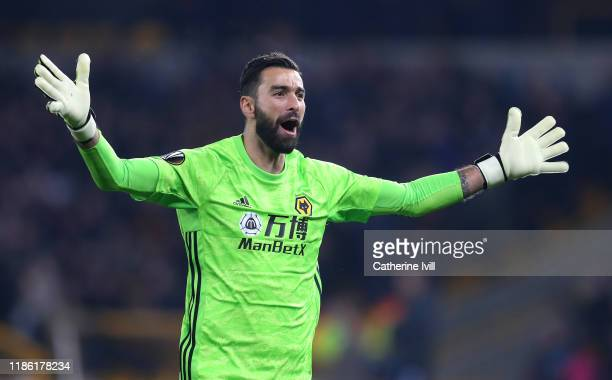 Rui Patricio of Wolverhampton Wanderers celebrates after his team's first goal during the UEFA Europa League group K match between Wolverhampton...