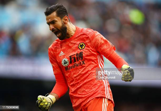 Rui Patricio of Wolverhampton Wanderers celebrates after their teams victory in the Premier League match between Manchester City and Wolverhampton...