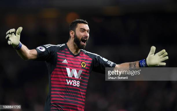 Rui Patricio of Wolverhampton Wanderers celebrates during the Premier League match between Wolverhampton Wanderers and Chelsea FC at Molineux on...