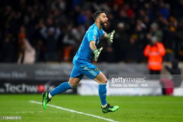 Rui Patricio of Wolverhampton Wanderers celebrates during the Premier League match between Wolverhampton Wanderers and Manchester United at Molineux...