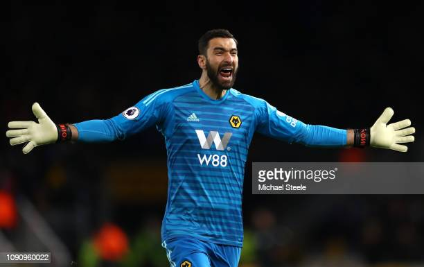 Rui Patricio of Wolverhampton Wanderers celebrates his sides second goal during the Premier League match between Wolverhampton Wanderers and West Ham...