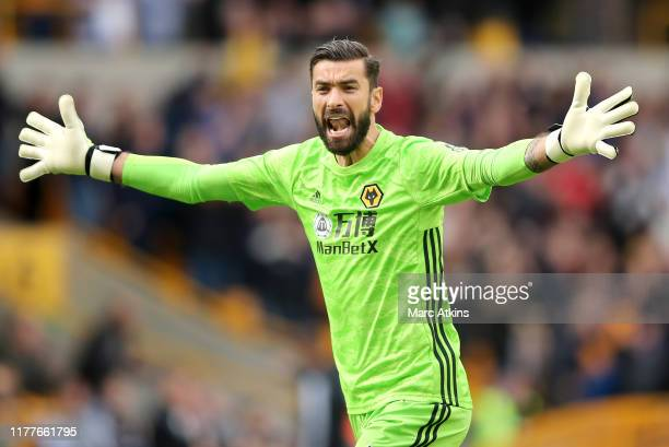 Rui Patricio of Wolverhampton Wanderers celebrates his team's first goal during the Premier League match between Wolverhampton Wanderers and Watford...