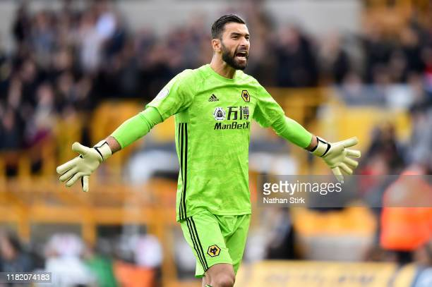 Rui Patricio of Wolverhampton Wanderers celebrates his team's first goal during the Premier League match between Wolverhampton Wanderers and...