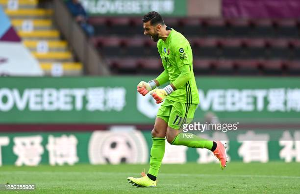 Rui Patricio of Wolverhampton Wanderers celebrates his teams first goal during the Premier League match between Burnley FC and Wolverhampton...
