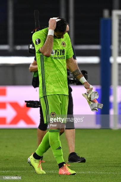 Rui Patricio of Wolverhampton Wanderers looks dejected following the UEFA Europa League Quarter Final between Wolves and Sevilla at MSV Arena on...