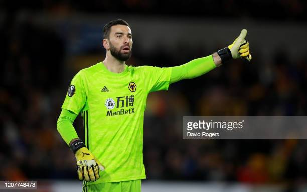 Rui Patricio of Wolverhampton Wanderers looks on during the UEFA Europa League round of 16 first leg match between Wolverhampton Wanderers and...
