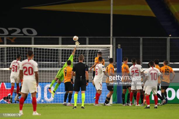 Rui Patricio of Wolverhampton Wanderers saves a freekick during the UEFA Europa League Quarter Final between Wolves and Sevilla at MSV Arena on...