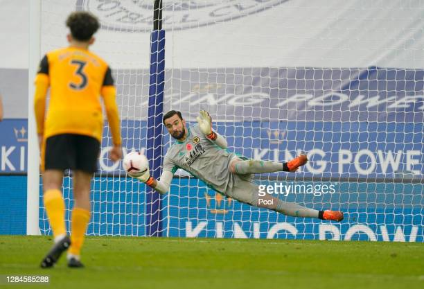 Rui Patricio of Wolverhampton Wanderers saves a penalty from Jamie Vardy of Leicester City during the Premier League match between Leicester City and...