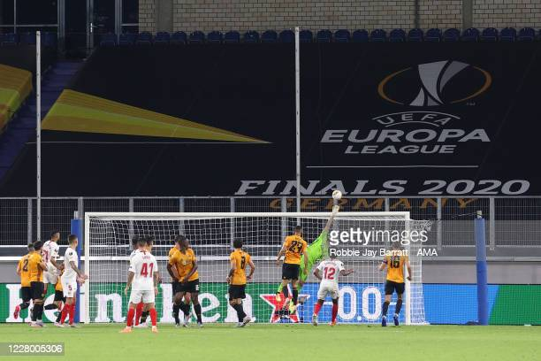 Rui Patricio of Wolverhampton Wanderers saves as he puts the ball over the bar during the UEFA Europa League Quarter Final between Wolves and Sevilla...