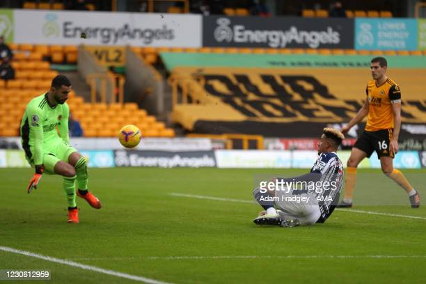 Rui Patricio of Wolverhampton Wanderers saves from Callum Robinson of West Bromwich Albion during the Premier League match between Wolverhampton...