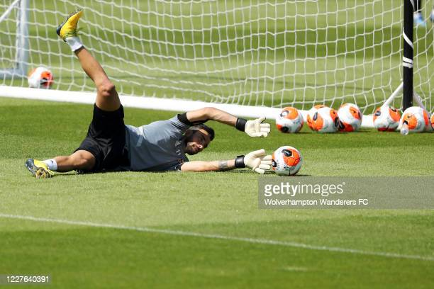 Rui Patricio of Wolverhampton Wanderers takes part in a training session at Sir Jack Hayward Training Ground on May 28 2020 in Wolverhampton England