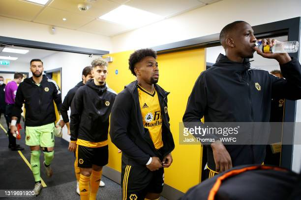 Rui Patricio, Ruben Neves, Rayan Ait-Nouri, Adama Traore and Willy Boly of Wolverhampton Wanderers walk out of tunnel ahead of the Premier League...