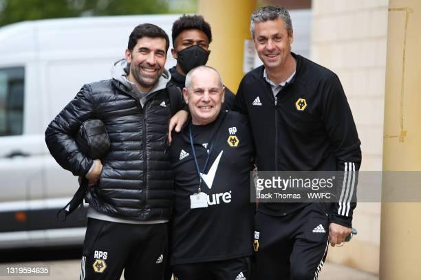 Rui Pedro Silva, Assistant Head Coach of Wolverhampton Wanderers, Adama Traore, Ron Picken and Rui Barbosa, Goalkeeping Coach of Wolverhampton...