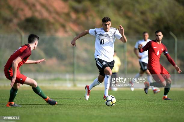 Rui Pires of Portugal competes for the ball with Aymen Barkok of Germany during the Under 20 International Friendly match between U20 of Portugal and...