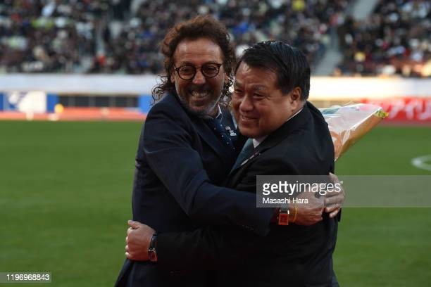 Rui Ramos and Kozo Tashima hug during the 99th Emperor's Cup final between Vissel Kobe and Kashima Antlers at the National Stadium on January 01 2020...