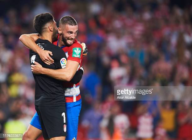 Rui Silva of Granada CF and Domingos Duarte of Granada CF celebrates after wining the match during the Liga match between Granada CF and FC Barcelona...
