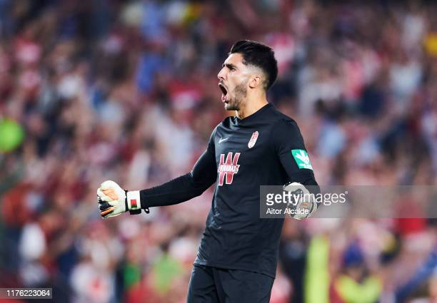 Rui Silva of Granada CF celebrates after his teammate Alvaro Vadillo scored during the Liga match between Granada CF and FC Barcelona at Estadio...