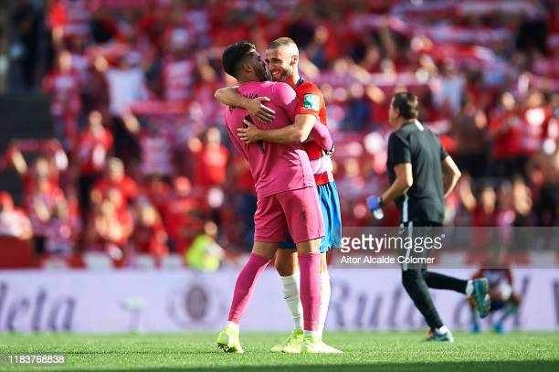 Rui Silva of Granada CF celebrates after wining the match with Domingos Duarte of Granada CF during the Liga match between Granada CF and Real Betis...