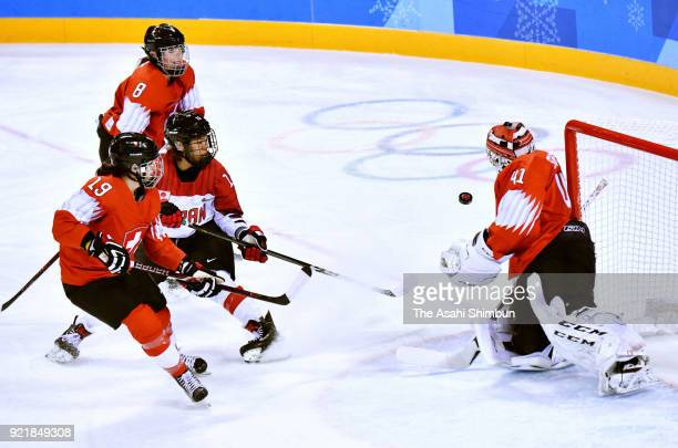 Rui Ukita of Japan takes a shot during the Women's Ice Hockey Classification game on day eleven of the PyeongChang 2018 Winter Olympic Games between...