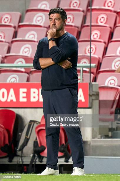 Rui Vitoria, Head Coach of FC Spartak Moskva reacts during the UEFA Champions League Third Qualifying Round Leg Two match between SL Benfica and...