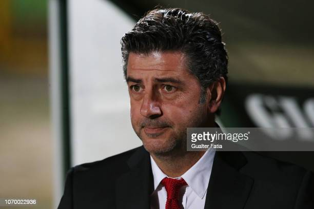 Rui Vitoria of SL Benfica before the start of the Liga NOS match between Vitoria FC and SL Benfica at Estadio do Bonfim on December 8, 2018 in...