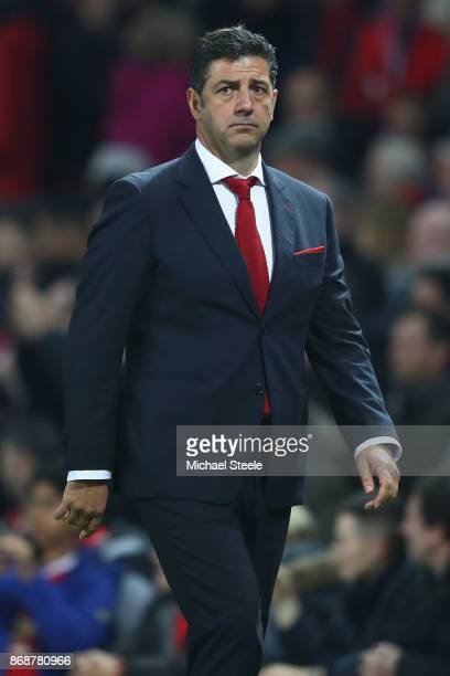 Rui Vitoria the Coach of Benfica during the UEFA Champions League group A match between Manchester United and SL Benfica at Old Trafford on October...
