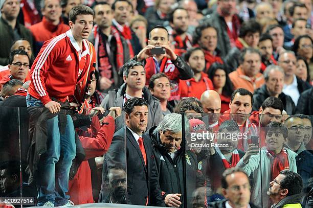 Rui Vitória, SL Benfica coach after being expelled watch the game on the bench with the public during the UEFA Champions league Quarter Final Second...
