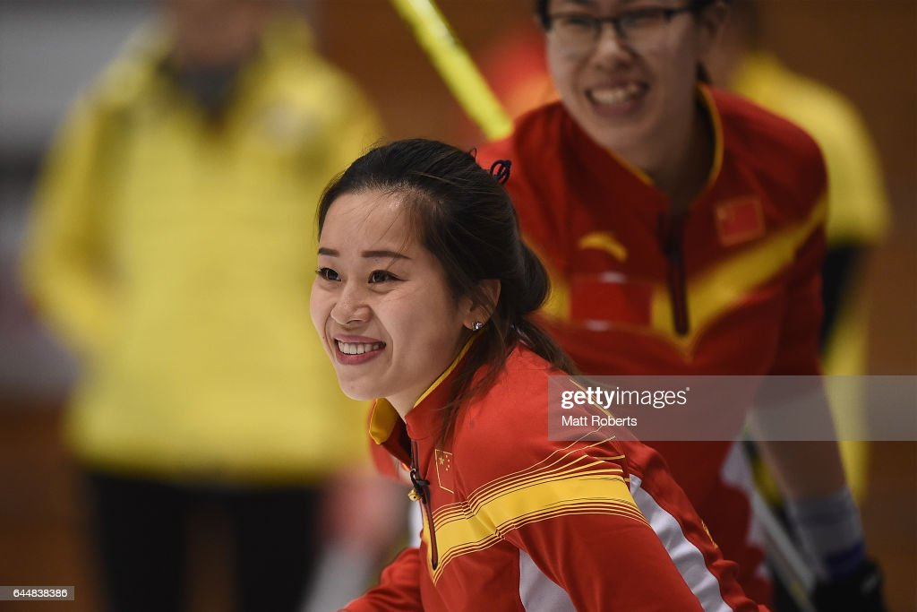 Rui Wang of China smiles during the gold medal game between China and Korea on day seven of the 2017 Sapporo Asian Winter Games at Sapporo Curling Stadium on February 24, 2017 in Sapporo, Japan.