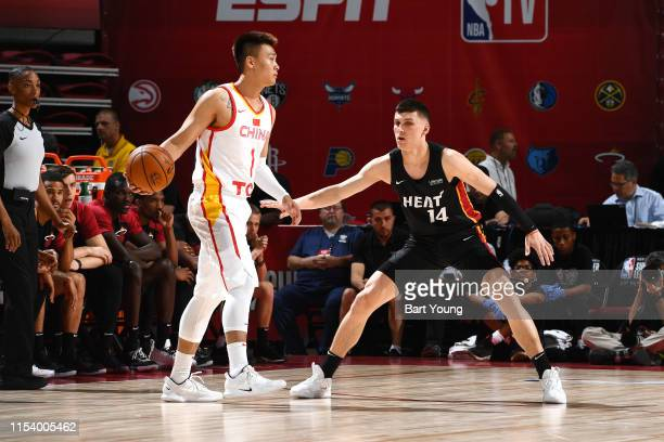 Rui Zhao of China handles the ball during the game against Tyler Herro of the Miami Heat during Day 1 of the 2019 Las Vegas Summer League on July 5...