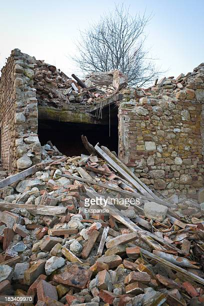 ruin and rubble of old collapsed house - house collapsing stock pictures, royalty-free photos & images