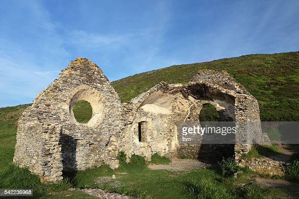 Ruin of an ancient chapel in the cliffs of Barneville-Carteret, Normandy/ France