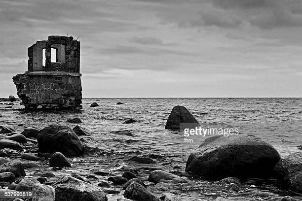 ruin of an very old lighthouse - black and white instant print stock pictures, royalty-free photos & images
